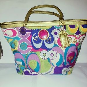 Coach Poppy Pop C Graffiti Shopper Tote